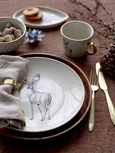 déco tête de cerf assiette noel table noir blanc