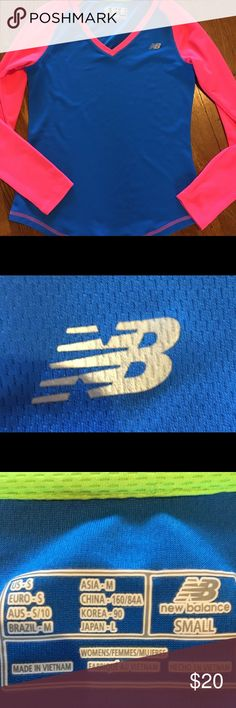 New Balance Top. New Balance Top. Never worn, great fun colors. There is one tiny pull on the inside of the right sleeve and a couple of mini ones here and there. Price reflects! These are manufactures defects or maybe this happened when someone tried it on in the store. See pic #4. New Balance Tops