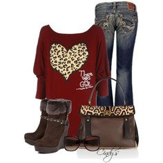 """""""Wine Red Off Shoulder Heart Print"""" by cindycook10 on Polyvore"""