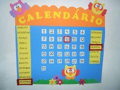 Kit sala de aula mural calendário e chamadinha com o tema coruja em EVA. Fazemos em outras cores e modelos, consulte-nos.