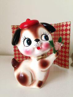 Vintage 1970s Ceramic Adorable Puppy Figurine by HUISHANOldTime