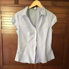 H&M Striped Button Down Top  Size 12 H&M light blue & white striped button down collared shirt! Size 12! H&M Tops Button Down Shirts