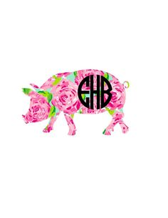 This listing is for ONE pig monogram style of your choice! ***Size chosen is for the WIDTH of the ENTIRE decal. Height will be proportional. If you need to know the exact height of a design, please me