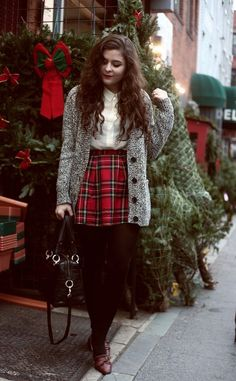 plaid skirt and oversized gray cardi