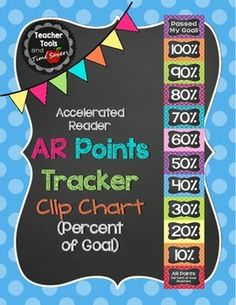 Accelerated Reader (AR) Points - Percent of Goal Clip Chart - Cute Polka DotsThis adorable AR Clip Chart is a simple solution to motivating your students to achieve AR Goals.Buy an editable version of this item in my 'Cute Polka Dots Classroom Dcor Bundle Ar Reading, Reading Goals, First Grade Reading, Teaching Reading, Reading Motivation, Polka Dot Classroom, 4th Grade Classroom, Middle School Classroom, Future Classroom