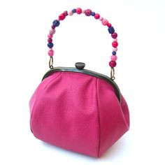 Hot pink pumpkin bag with hand beaded handle/Coco Barclay Bags