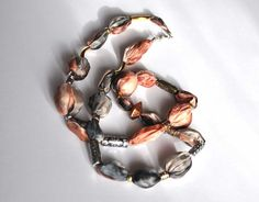 Statement Silk Necklace. Peach Grey Silver Gold by TanjaDesign, $49.00