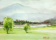 台北市萬華區華江雁鴨自然公園 Saunders CP Rough 300g 37 x 28 cm 8K 水彩寫生