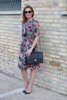 Floral bon ton dress with Valentino Rockstud heels and Chanel bag