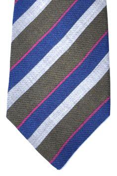 Kiton Sevenfold Tie Navy Fuchsia Gray Green Stripes