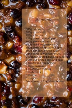 Mincemeat _ Put all of the above ingredients (Written on Picture) in a pan, mix well & cover with a sheet of aluminium foil & place it in the preheated oven to 120 C for 2 hours. Give it a good stir half way through. Vegetable Dishes, Homemade Mincemeat Recipe, English Food, English Recipes, Mince Dishes, Minced Meat Recipe, Fairy Cakes, Best Meat, Pastries