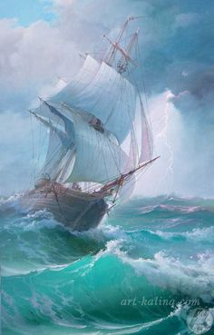 Art by Victor Luzik Ship Paintings, Seascape Paintings, Stürmische See, Sea Storm, Old Sailing Ships, Stormy Sea, Nautical Art, Sea Waves, Ship Art