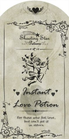 Valentine - Halloween - Instant Love Potion label