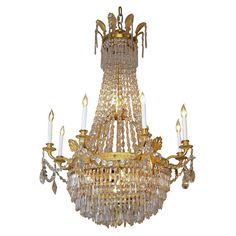 Antique French Empire Ormulu and Baccarat Crystal Chandelier | From a unique collection of antique and modern chandeliers and pendants at https://www.1stdibs.com/furniture/lighting/chandeliers-pendant-lights/