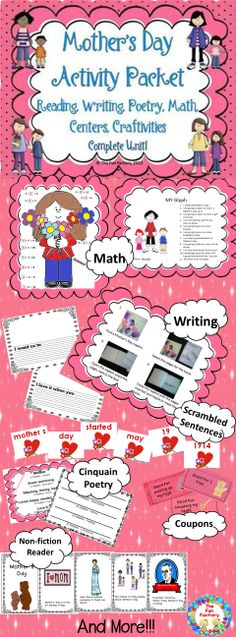 This mega- packet has it all! You should need nothing else for Mother's Day and all activities are CC style!   Lap Book and Emergent Reader  – History of Mother's Day, Mother's Day Coupon Book , Craftivity,  Mother's Day bookmarks,  Napkin Book Center Writing Activity  Mother's Day Glyph, Missing Addends Worksheet With Sums to 12, Scrambled Sentences,   Poetry - Cinquain Poem,  Folder Board Game,  Certificate for Mom .