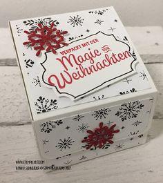 Heute habe ich wieder eine Verpackung für dich – ganz weihnachtlich im Designerpapier Frohes Fest. Der Gruß darauf stammt aus dem Stempelset 'Weihnachtswunder' und die passenden T…