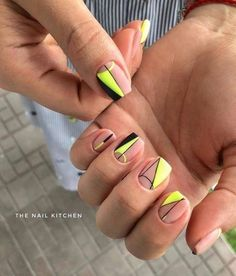 23 Great Yellow Nail Art Designs 2019 - Little Yellow Cab Nails - Neon Yellow Nails, Yellow Nails Design, Yellow Nail Art, Neon Nails, Neon Nail Art, Neon Nail Polish, Cute Nails, Pretty Nails, Nail Art Designs