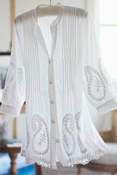 Sandwashed Topper - Embroidery, Wide Scoop Neckline, Three-quarter Length Sleeve | Soft Surroundings