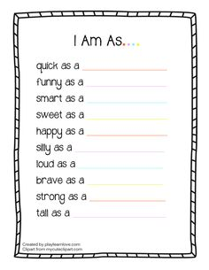 All About Me 'I Am' Worksheet : Preschool and Toddler Lesson Plan with Free Printable!