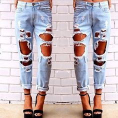 Women Fashion Vintage Style Torn Holes Denim Blue Pants Female Retro Pencil Long…