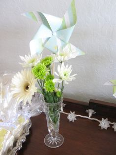 Flowers and pinwheel centerpieces