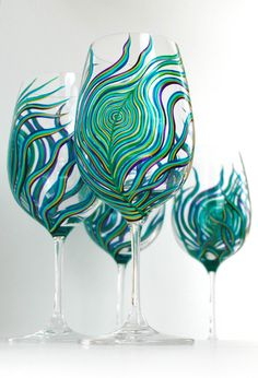 Peacock Feather Wine Glasses - Set of 4 Hand Painted Peacock Glasses - Peacock Themed Wedding on Etsy, £80.60