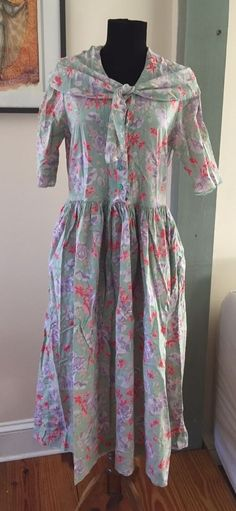 Vintage 80s Laura Ashley Made in Great Britain Floral Sailor Dress - 12 US 14 UK #LauraAshley #Garden