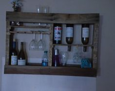 Rustic wood wall mounted pallet  wine rack bottle or glass holder for decor, bar, storage, shelf or gift #A3624GX
