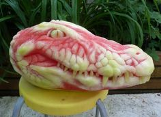 He made this work of art by carving watermelon like you would a pumpkin.