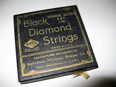 Vintage Black Diamond Hawaiian Steel Guitar Strings, Original Unused Strings in Original Box, Packaging