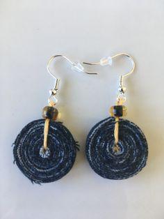 Jeans recycled earrings / tassel earrings / casual denim earrings by ByDashka on Etsy