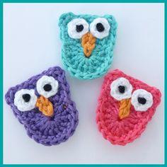 3 Small owl crochet appliques  £3.00 #marmakers