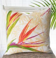 Bird of Paradise Outdoor Pillow Cover - tropical flower, tropics, exotic flower, Caribbean, tropical decor, island decor, beach decor by VivianandB on Etsy https://www.etsy.com/listing/273686222/bird-of-paradise-outdoor-pillow-cover