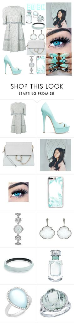 """Untitled #460"" by eden-sahar-1 ❤ liked on Polyvore featuring Talbot Runhof, Casadei, Chloé, MINX, Casetify, Kate Spade, Inbar, Alexis Bittar, Tiffany & Co. and Roberto Coin"