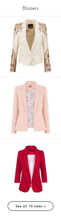 """""""Blazers"""" by heelobsession ❤ liked on Polyvore featuring outerwear, jackets, blazers, multi, beaded jacket, slim fit jackets, white blazer, shoulder pad blazer, white jacket and blazer"""