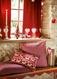 Red and White Swedish Decor