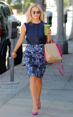 Reese Witherspoon - celebrity street style in a floral skirt and sleeveless blouse - June 2015