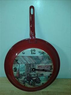 Coca Cola Red Frying Pan Wall Clock Filling Station General Store Scene
