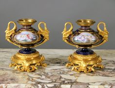 Pair of Late 19th Century Gilt Bronze Mounted Sèvres 'Jeweled' Vases