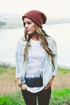 Graphic T w/ Chambray shirt & Beanie