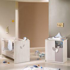 Sauthon meubles Chambre bébé duo leaf blanc taupe 2 éléments lit + commode de Sauthon meubles