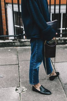 Relaxed jeans, comfy sweaters, and pointed toe loafers.