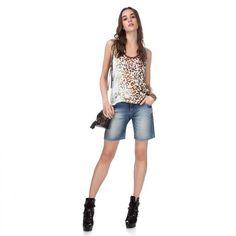 Mais looks novos lindos!! Quem gosta ?   Bermuda Jeans Slim Tie Dye  COMPRE AGORA!  http://imaginariodamulher.com.br/look/?go=2c1DRl2 #comprinhas