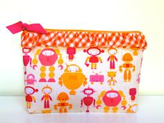pink robots pouch with orange gingham ruffle and fuschia lining