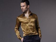 golden satin shirt Mens Hottest Fashion, Stylish Mens Fashion, Men Fashion, Men's Clothing, Vintage Clothing, Vintage Outfits, Satin Shirt, Men Wear, Guy Pictures