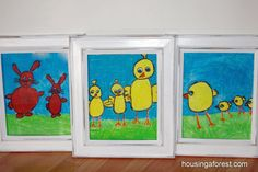 spring art projects for kids ~ Oil Pastel and Watercolor Resist
