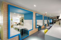 Interior design refresh for Student Loans Company workplace at Bothwell Street… Corporate Interiors, Office Interiors, Workplace Design, Corporate Design, Student House, Student Loans, Commercial Office Design, Office Pods, Booth Seating