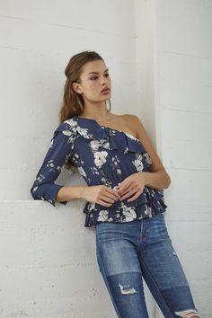 14f916230c430  Amalia One Shoulder Silk Blouse  Floral Blouse