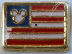 $6.98 Mickey Mouse American Flag Floating Heart Locket Charm!