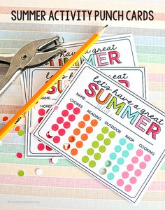 "Summer Activity Punch Cards to prevent ""Mom I'm bored"" all summer long! Print out and get punching."